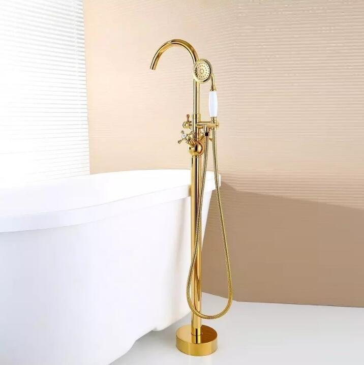 Modern Free standing Bathtub Faucet Tub Filler Fashion Gold Brass Floor Mount with Hand shower Bathtub Mixer Taps