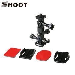 SHOOT Action Camera Helmet Tripod Mounts for GoPro Hero 5 4 3 Xiaomi Yi 4K SJCAM SJ4000 SJ5000 Go pro Accessories Set