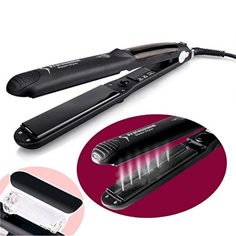Argan Oil Vapor System Hair Straightener Flat Iron Wet dry Hair Steam Styler Straightening Irons Chapinha Titanium Plated Tourma