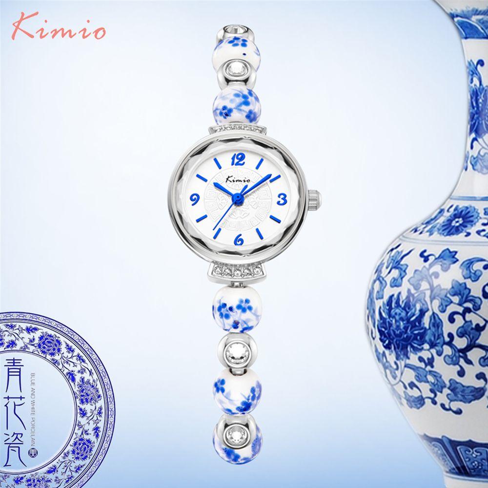 KIMIO Rétro Vraiment Chinois montre en céramique Bleu Et Blanc Porcelaine Chine Modèle de Bon Augure Bracelets montres femmes Marque De Luxe