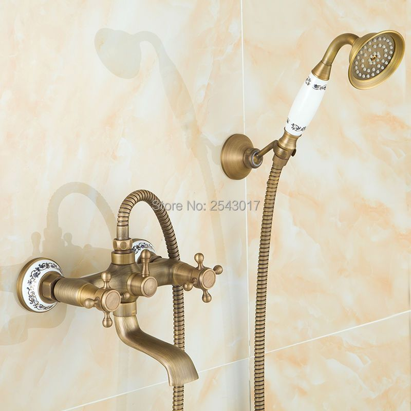 Ceramic Shower Faucet Bathroom Wall Mounted Telephone Type Antique Bronze Shower Set with Hand Shower Swivel Spout ZR009