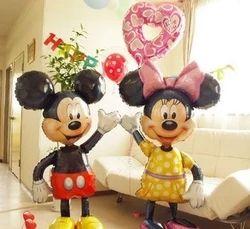112 cm gigante Mickey Minnie Mouse globo fiesta de cumpleaños de la hoja de la historieta Airwalker globos para juguetes del bebé de los cabritos