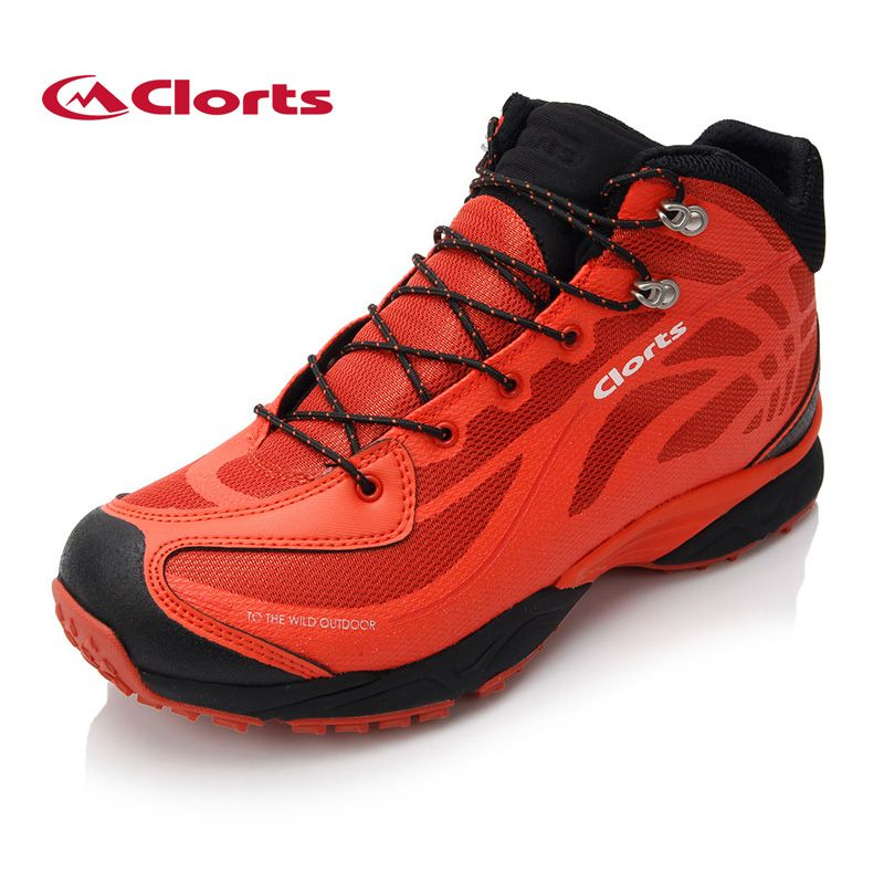 Clorts Men Women Mountain Boots Mesh Genuine Leather Waterproof Hiking Shoes Breathable Climbing Boots for Outdoor 3B026