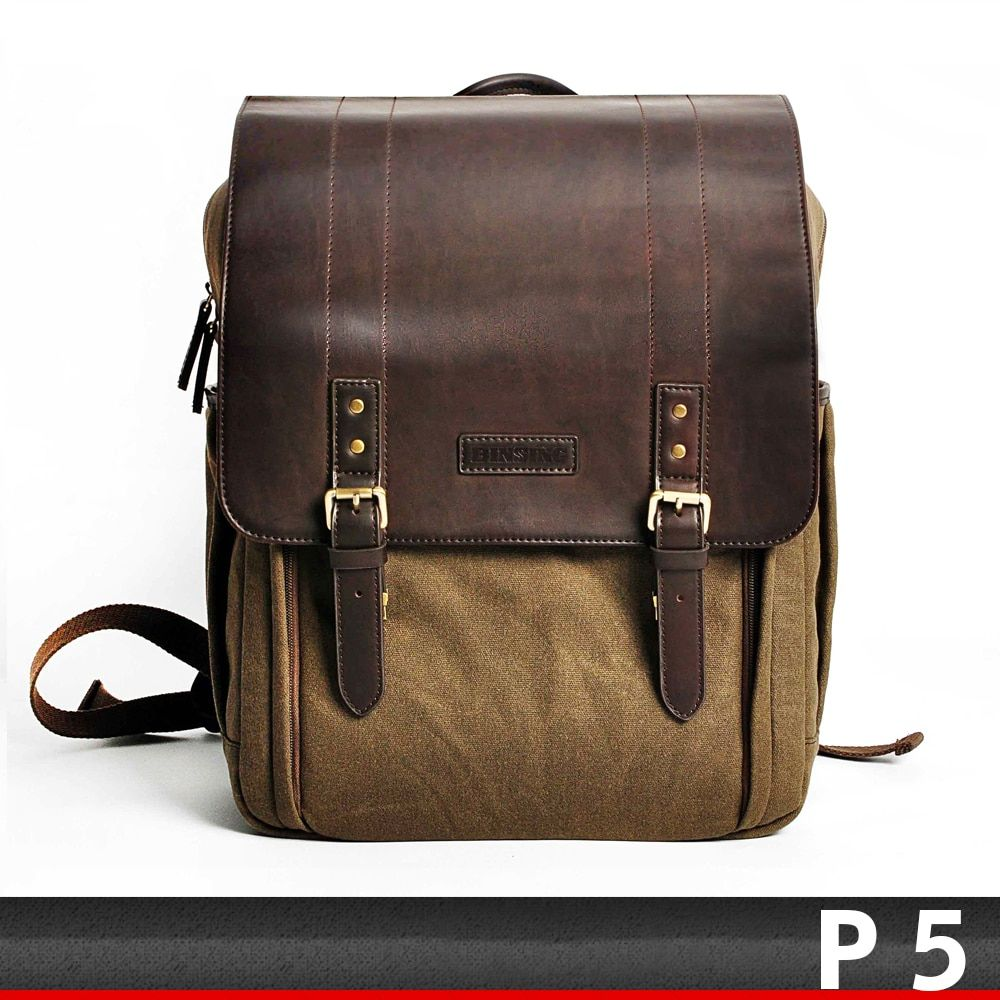 CADeN P5 SLR camera shockproof high-quality waterproof retro canvas double row high-capacity backpack