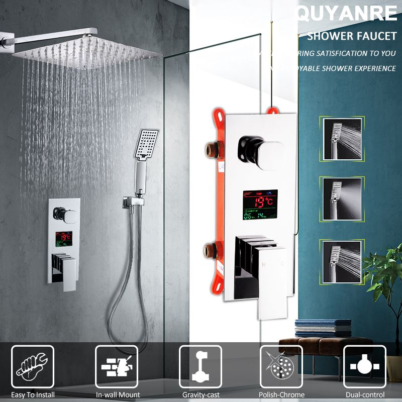 Quyanre LED Digital Display Shower Faucet Set Rain Shower Head 3-way Handshower Digital Display Mixer Tap Bathroom Shower Faucet