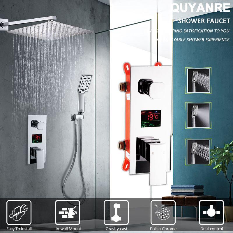 Quyanre LED Digital Display Shower Faucet Set Rain Shower Head 3-way Handshower Digital Display Mixer Tap Bathroom Shower Faucet