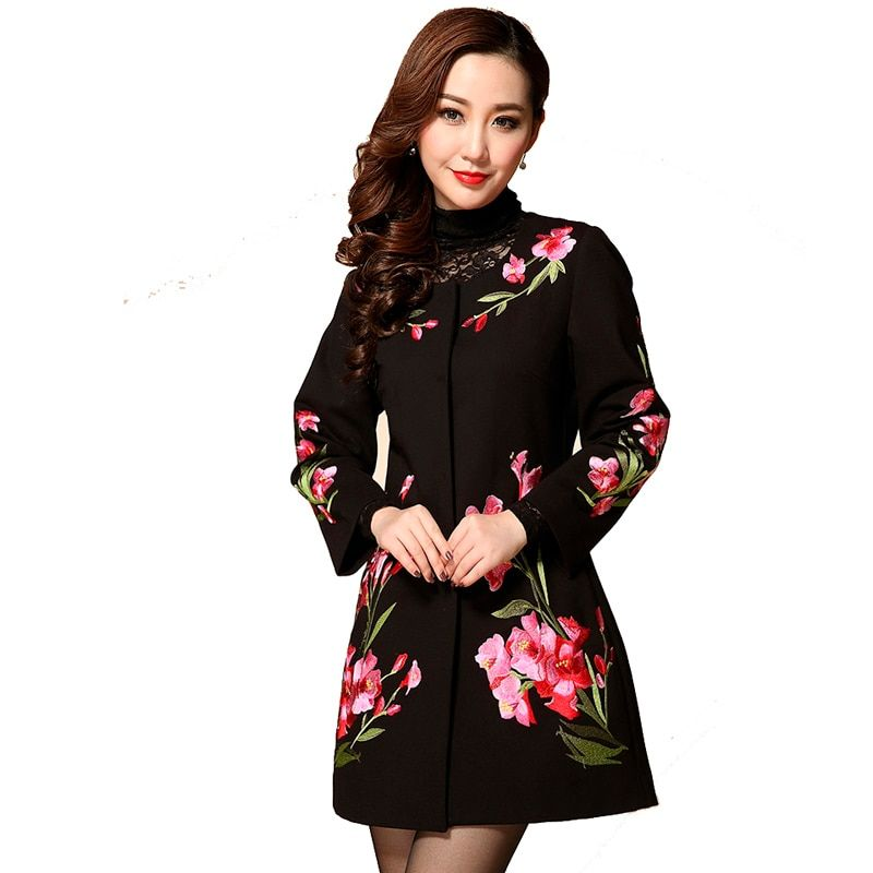 Для женщин; Большие размеры 3XL 4XL 5XL Блёстки цветочный Вышивка более Размеры D Блейзер Mujer мать верхняя одежда элегантный длинное пальто Пиджа...