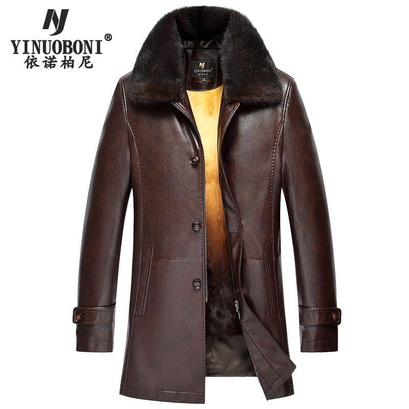 Top Quality Men's Winter Genuine Leather Jacket Warm Rabbit Fur Coat Brand Men's Leather Jacket Plus Size Natural Leather Jacket