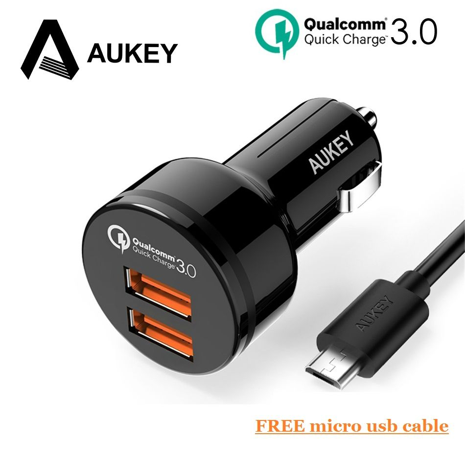 AUKEY USB Fast Car Charger 36W Quick Charge QC3.0 Dual 2 <font><b>Port</b></font> Mini Phone Car-Charger For Samsung Galaxy s8 For Xiaomi 4x Redmi 5