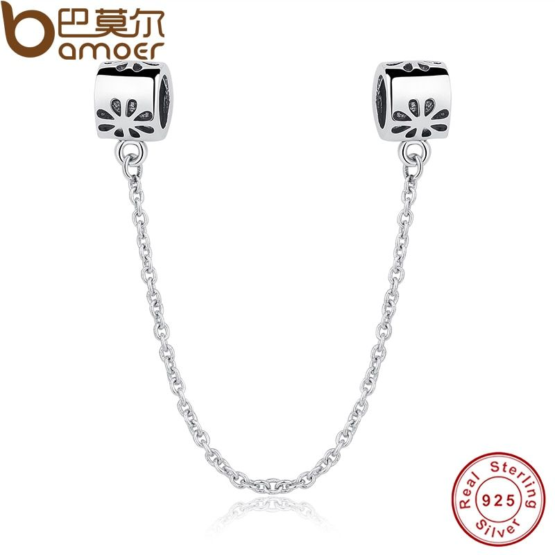 Special Gift 925 Sterling Silver Flower Daisy Safety Chain Charm Fit Bracelet & Necklace Jewelry Accessories PAS204