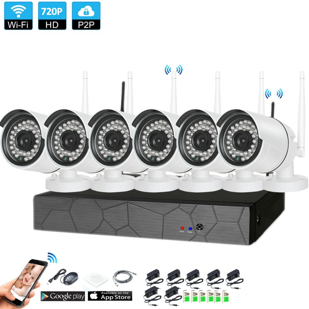Plug and Play 6CH 1080P HD Wireless NVR Kit P2P 720P Indoor Outdoor IR Night Vision Security 1.0MP IP Camera WIFI CCTV System