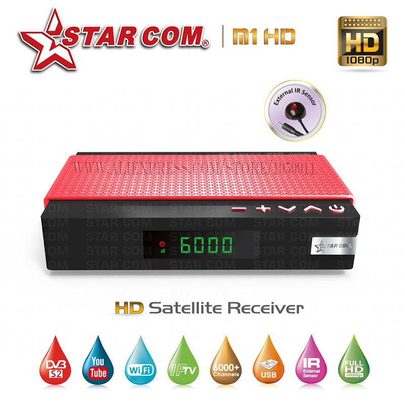 STARCOM M1 Satellite TV Receiver With Free IPTV M3U Full HD IPTV Hybrid New Satellite TV Receiver YouTube WiFi Included TV BOX