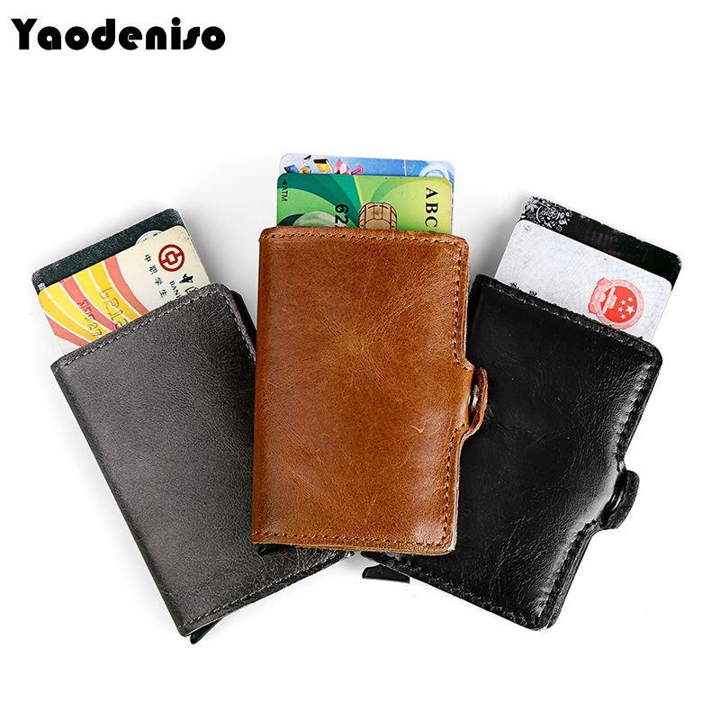 Yaodeniso Новый Для мужчин блокирование RFID кошелек Пояса из натуральной кожи Бизнес Алюминий кредитных держатель для карт кошелек автоматическ...