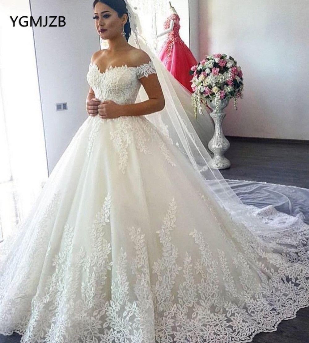 Vestido de Noiva 2019 Prinzessin Hochzeit Kleid Ballkleid Off Schulter Perlen Applique Spitze Braut Kleid Brautkleid Robe De mariee