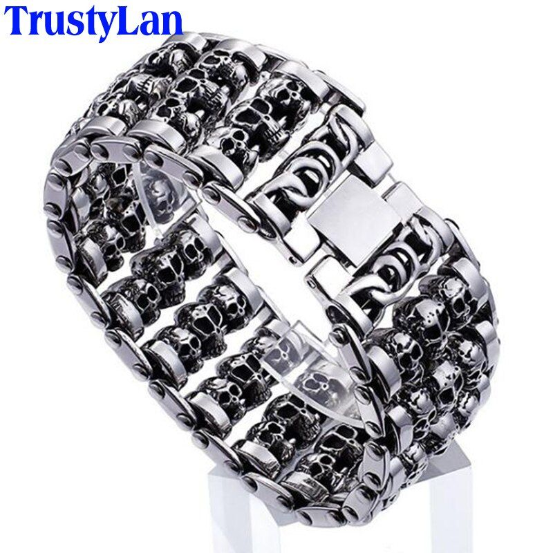 TrustyLan Solid Stainless Steel 35MM Wide Heavy Men's Skeleton Skull Bracelet Punk Rocker Ghost Bangle Biker Jewelry Bracelets