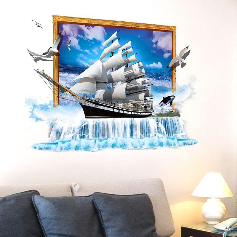 [SHIJUEHEZI] 3D Bateau autcollants muraux Vinyle bricolage Voilier affiche murale pour Salon Enfants Chambre Décoration décoration d'intérieur Autocollant