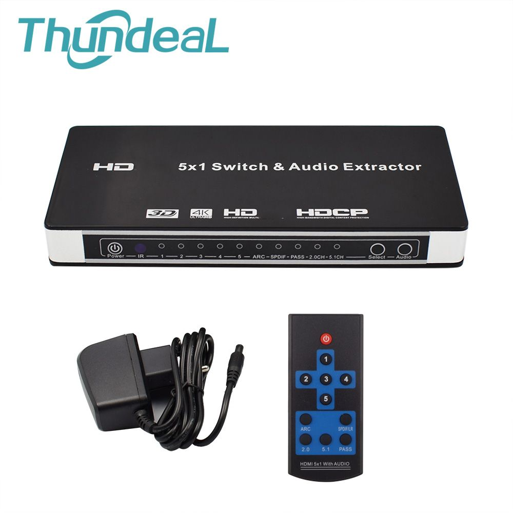 HDMI Switch 5x1 HDMI Audio Extractor Switcher 4Kx2K 3D ARC Audio EDID 7.1CH/ADV/2CH 5 Port HDMI Audio Extractor Switch Converter