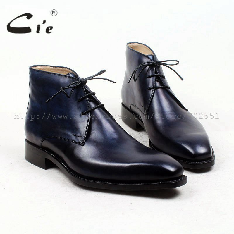 cie square plain toe100%genuine calf leather boot patina navy handmade outsole leather men boot business men's ankle boot A96