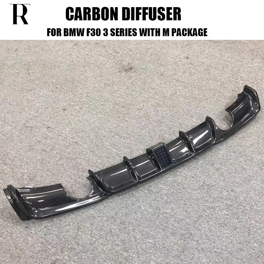 2 Outlet Stlyle Carbon Fiber Rear Bumper lip Diffuser with LED light for F30 318i 320i 328i 335i 340i with M Package 2012 - 2018