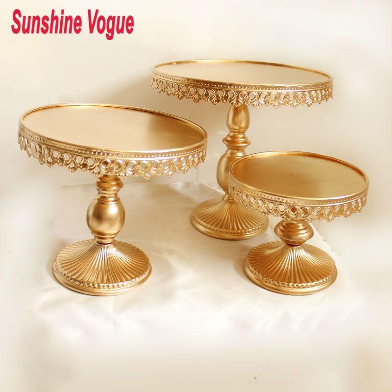 Or métal gâteau stand de fer art et gâteau affichage plateau de mariage partie décoration de table fournisseur gâteau accessoire cookie outils