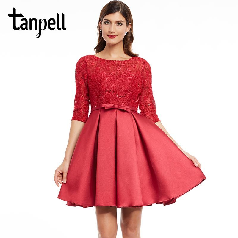 Tanpell short homecoming dress burgundy scoop half sleeves knee length a line dress bowknot back lace up formal homecoming gown