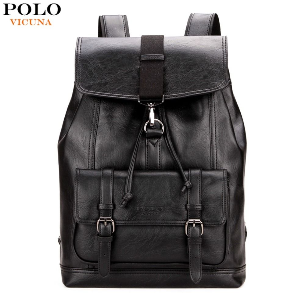 VICUNA POLO Personalized Anti-theft Buckle Drawstring Bag Men Backpack Trendy Leather Back Pack For Men Hot Sell sac a dos homme