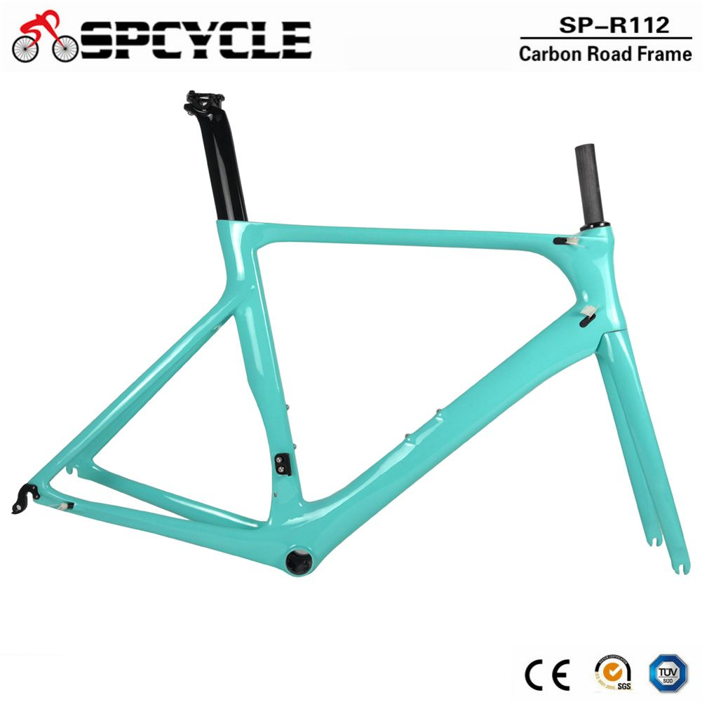 Spcycle OEM Full Carbon Rennrad Rahmen DI2 & Maschinen Road Racing Fahrrad Carbon Frameset BB86 50,5/53/ 56cm 2 Jahr Garantie