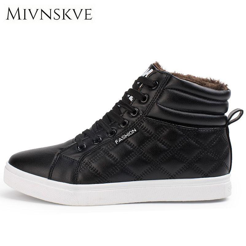 MIVNSKVE 2017 Invierno Hombres Zapatos Casuales Con la Piel Mantener Caliente Pu Cuero de Los Hombres zapatos Calzado Cómodo Pisos High Top hombres zapatillas de deporte