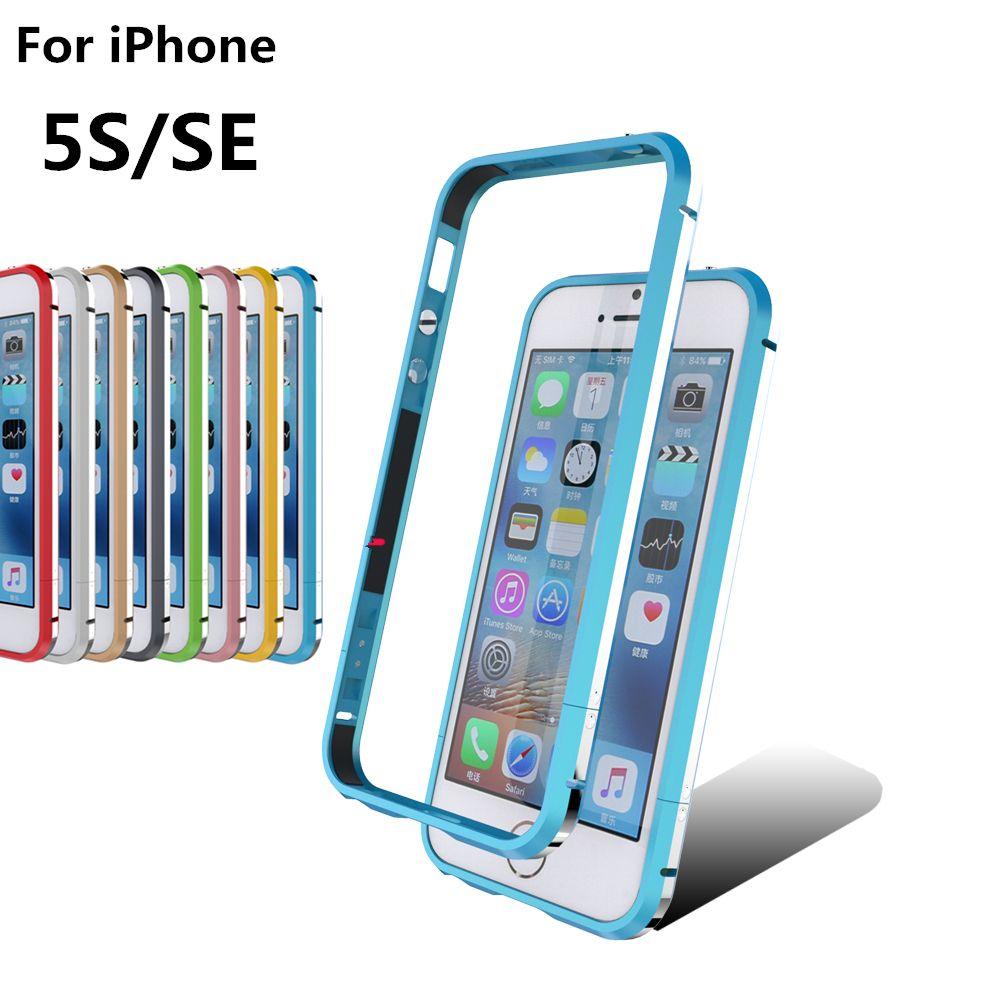 Deluxe Ultra Mince Cas Antichoc Téléphone Couverture de Butoir en aluminium pour Apple iPhone 5 5S SE + 2 Film (1 Avant + 1 Arrière)