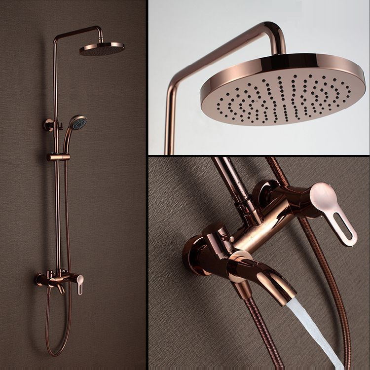 Classic Luxury PVD Rose Gold Plate Shower Set Antique Lifting Wall Mounted 8