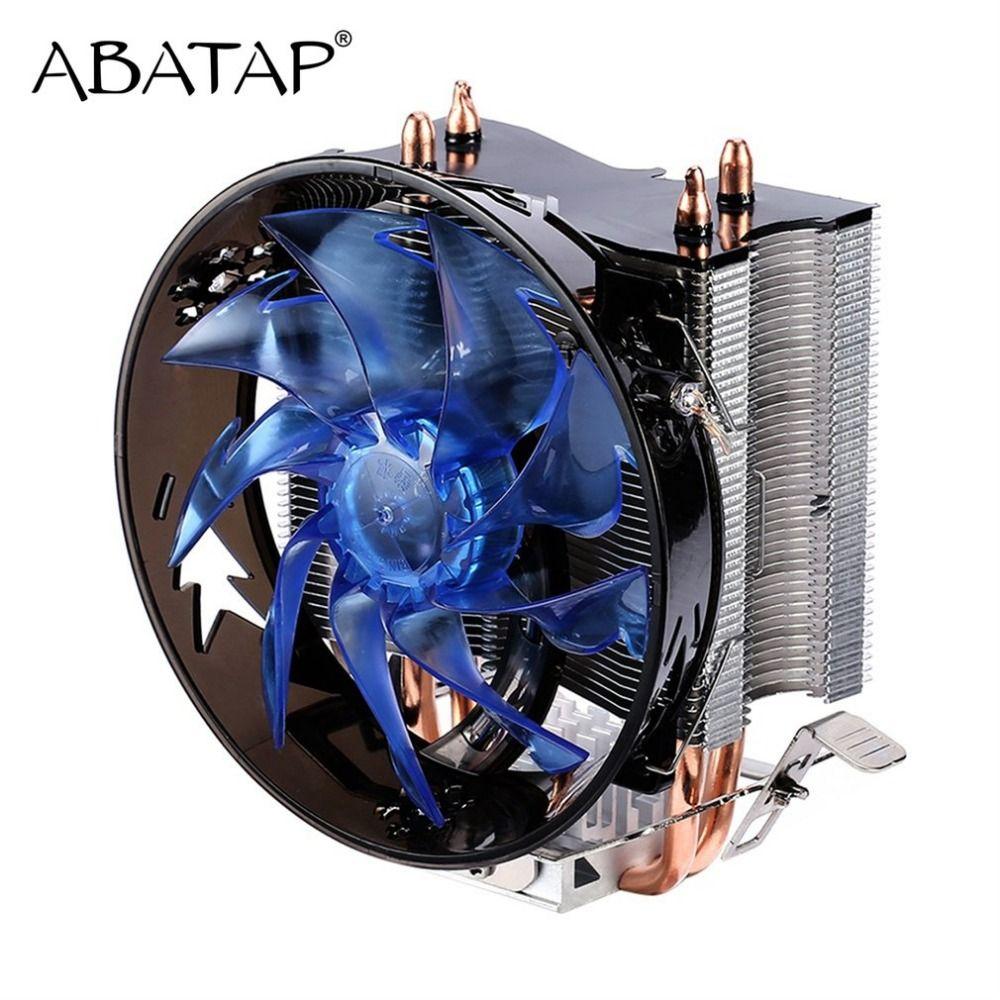 Процессор охладитель чистый Медь двойной тепловой трубы Процессор радиатор латунь башня Процессор вентилятор Системы охлаждения для Intel 775...