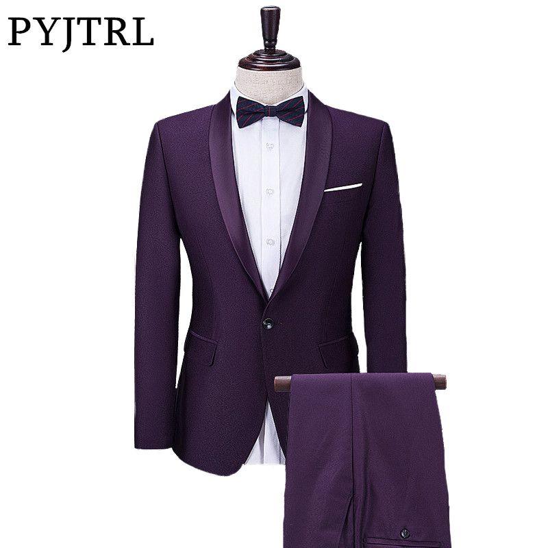 PYJTRL 2017 Neue Mens Schal Revers Violet Freizeit Anzug Bräutigam hochzeit Anzüge Für Männer Neuesten Mantel-Hose Designs Jacke Mit Hosen