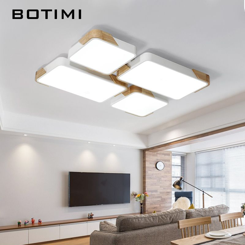 BOTIMI Janpaness Wooden Ceiling Lights Modern Square Surface Mounted Luminaire For Living Room Rectangal Bedroom Lighting