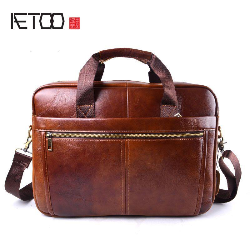AETOO Marke Echtem Rindsleder Herren Business Aktentasche Laptop Taschen männer Reisetasche Portfolio Männer Schulter Tasche Mann Handtasche