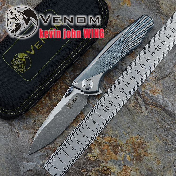 Kevin John VENOM Flügel M390 FESTE Titan Flipper klappmesser keramik kugellager camping jagd tasche messer EDC werkzeuge