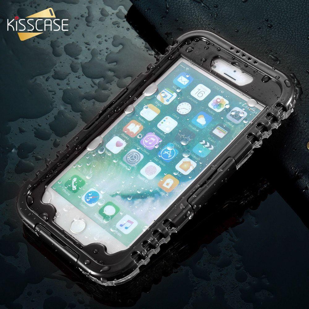 KISSCASE Boîtier Étanche Pour iPhone 7 7 Plus IP68 Piscine Plongée Cas imperméable à l'eau Pour l'iphone 6 6 S Plus Avec Lanière Fundas Capa