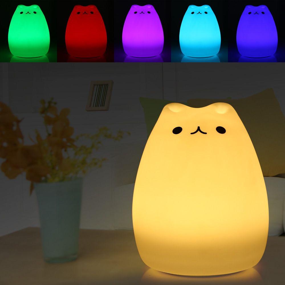Prime Chat Couleur Lumière Changeante Silicone Chat Nuit Lumières De Chevet Lampe 2 Modes Enfants Mignon Noël De Lampe De Nuit Chambre Lumière