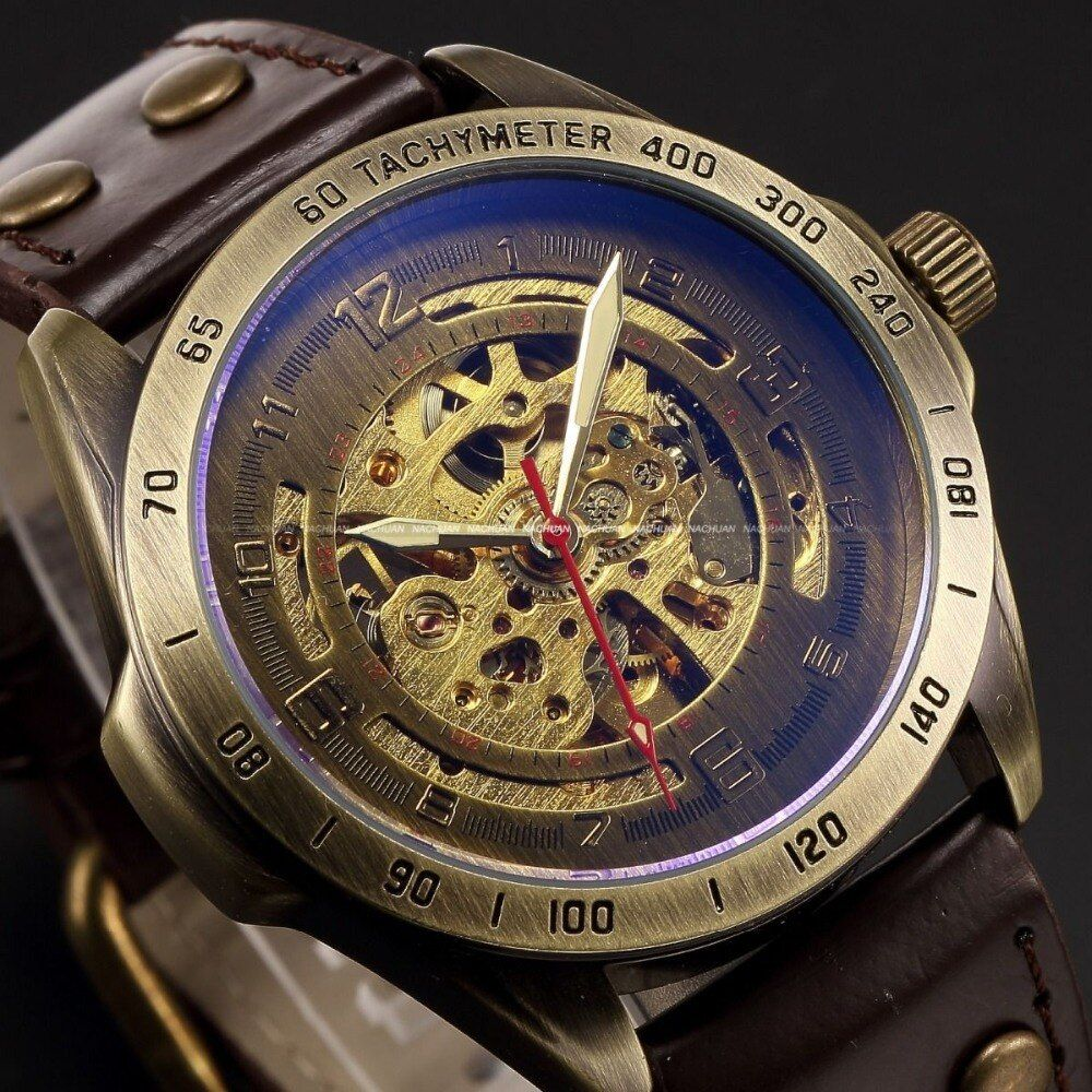 Luxury Brand Men's Retro <font><b>Bronze</b></font> Steampunk Skeleton Automatic Mechanical Relogio Leather Sport Men's vintage Casual Wrist Watch