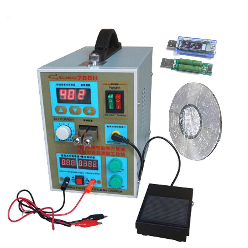 SUNKKO 788H spot welder machine 18650 lithium battery LED lighting +1roll 0.1*4mm nickel DC charging function Pulse spot Welder