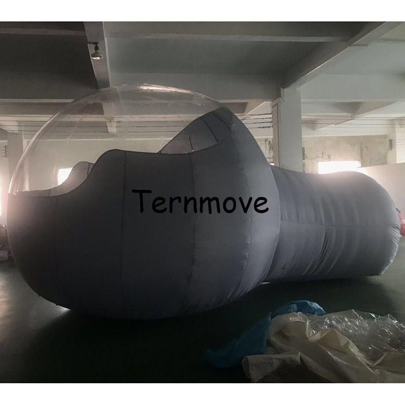 Aufblasbare blase zelt mit tunnel PVC Aufblasbare Blase grau Camping Zelt, Heißer Große werbung hälfte klar zelte