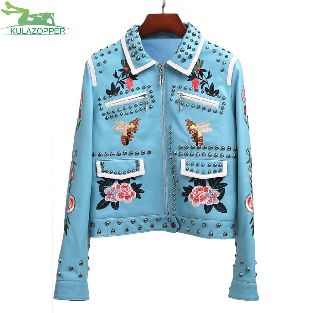 Fashion women embroidery locomotive leather jacket casual handmade 100 rivet spliced coat Flowers and bird pattern outwear QW406