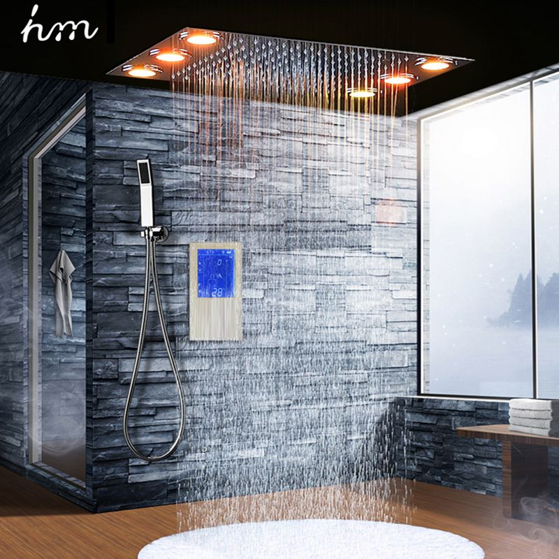 Digital Thermostatic Shower Set Controller Touch Control Panel Modern Luxury European Style SUS304 Rainfall Bathroom LedCeiling