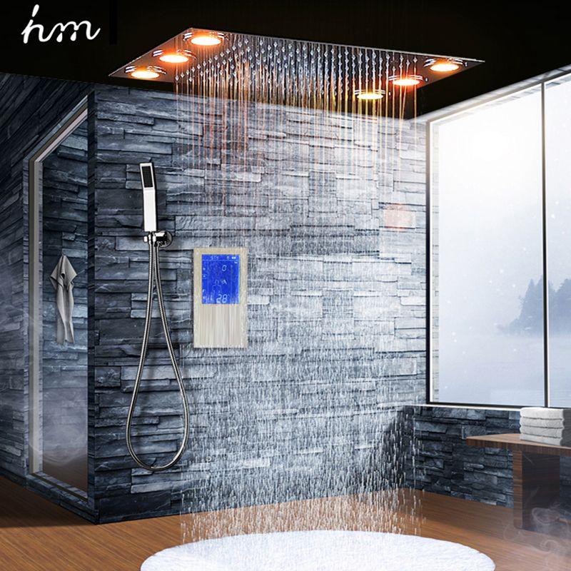 Digitalen Thermostat Dusche Set Controller Touch Control Panel Moderne Luxus Europäischen Stil SUS304 Regen Badezimmer LedCeiling