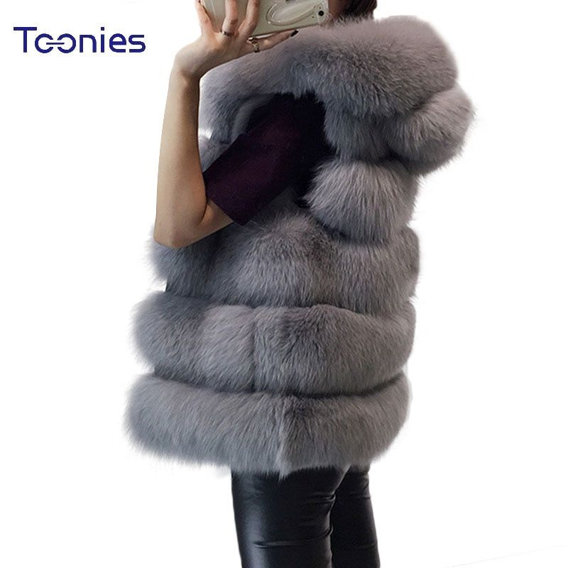 Women's Vest Hooded Cap Fur 2018 Fashion Luxury Thick Warm Vest Faux Fox Hair Down Coat Jacket Solid Color Fur Vests Women Coats