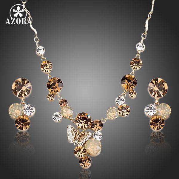 AZORA Stellux Mariposa del Color del Oro de Cristal Austriaco Colgante Collar y Pendientes Joyería Conjuntos TG0155