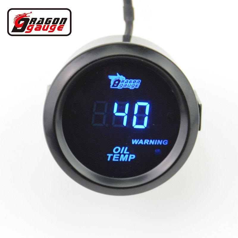 Dragon gauge 52mm Sunglassesl blue Light Digital Auto Car Oil temperature gauge Oil tem meter Modified  Auto gauge Free shipping