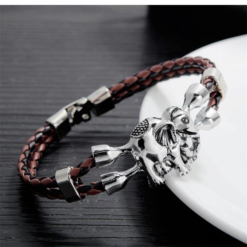 AZIZ BEKKAOUI Bracelets Uniques pour Hommes En Acier Inoxydable Bracelet En Cuir Animal Amitié Bijoux Cadeau