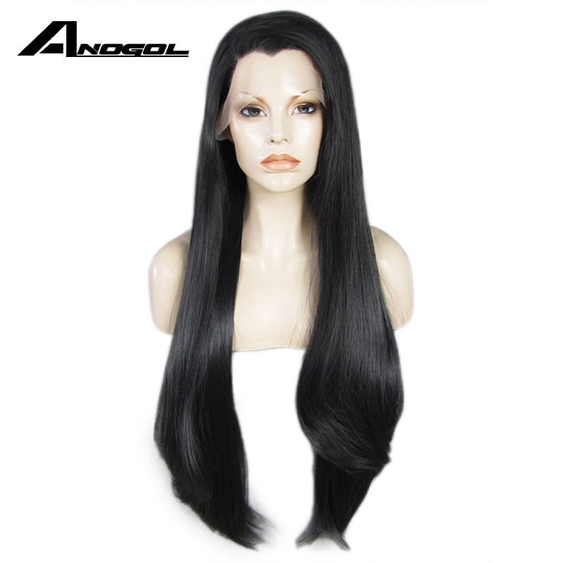 Anogol High Temperature Fiber Brazilian Hair Long Straight Full Wigs Black Synthetic Lace Front Wig For Women With Widow Peak