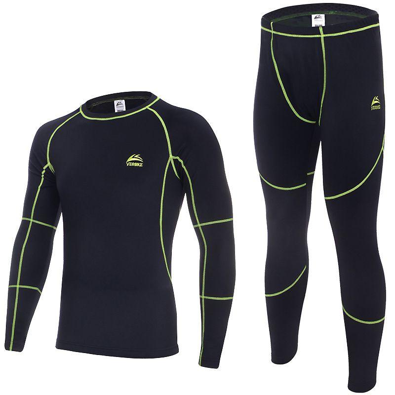 Outdoor Sport Fitness Unterwäsche Set Winter Fleece Herren Radfahren Basis Schichten Männer Thermische Warme Lange Unterhosen Lauf Oben Hosen Anzüge