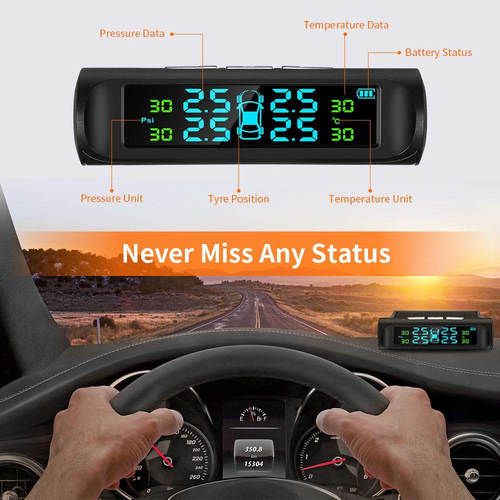 Zeepin C240 TPMS solaire USB charge voiture système de surveillance de la pression des pneus LCD affichage système d'alarme 4 capteurs internes externes